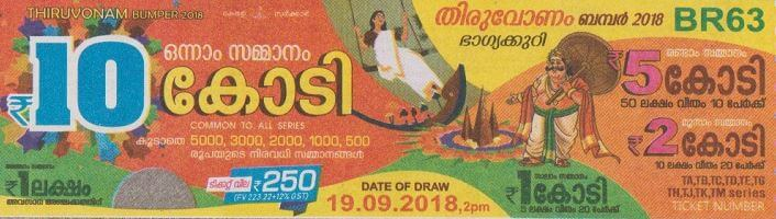 Thiruvonam bumper lottery ticket 2018 image