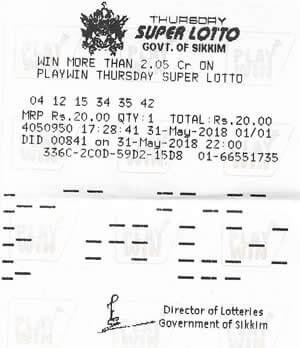 Thursday Super Lotto ticket image